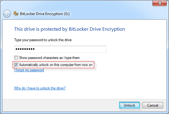 Enable or Disable BitLocker Auto-unlock for Drive