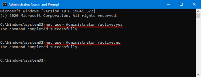 enable built-in administrator with command