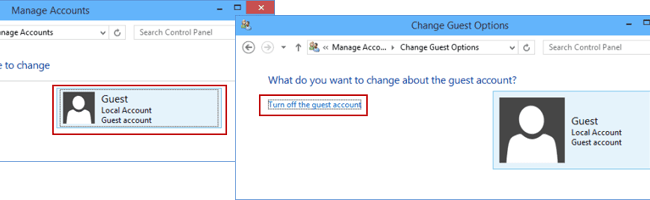 Turn off guest account