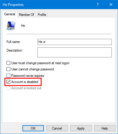 Disable or enable user accounts in Local Users and Groups