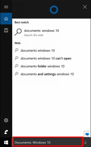 Search for files and folders with Cortana