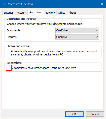 Turn off auto save screenshots to OneDrive