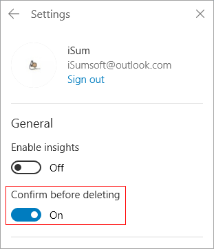 Turn on Confirm before deleting