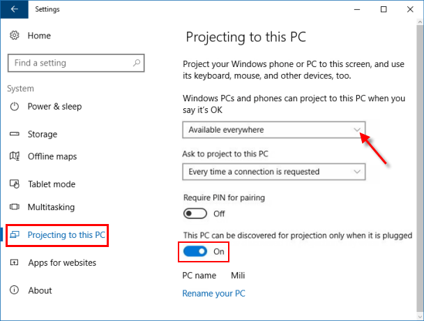 Customize projecting to this PC settings