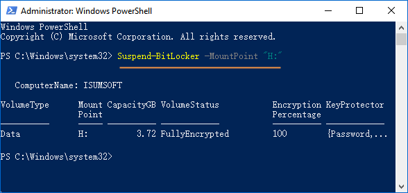 Suspend BitLocker protection in powershell