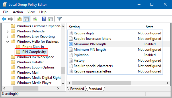 Enable PIN Requirements and Create a Complexity PIN in Windows 10