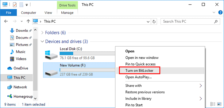 right click on the hard drive partition and select Turn on Bitlocker