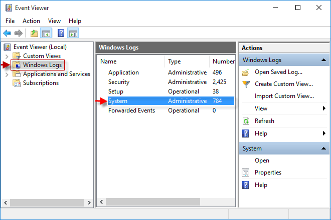 Navigate to Windows Logs and then System