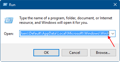Open default user WinX folder