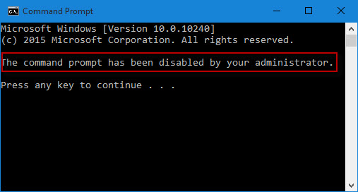 The command prompt has been disabled by your administrator