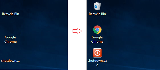 Desktop icon reture showing