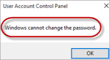 fix Windows cannot change the password