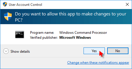 Give a permission ro run Command Prompt