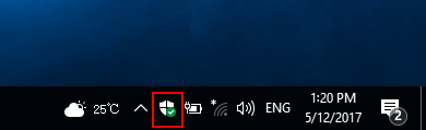Windows Defender Security Center icon in tray