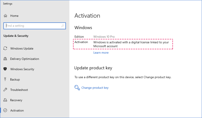 Activate Windows 10 using a digital license