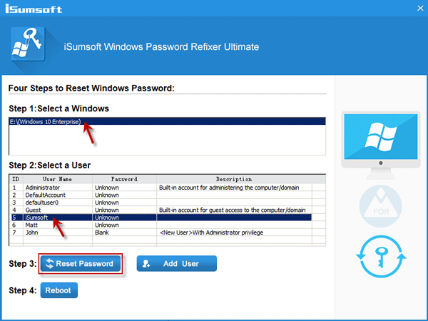 Select a user and click Reset Password