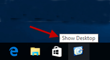 add show desktop icon to Windows 10 taskbar