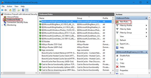 how to block program in firewall win 10