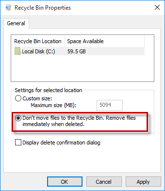 Select Don't move files to Recycle Bin