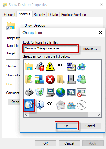 change shortcut icon in windows 10