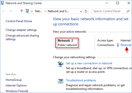 change public network to home