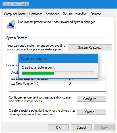 Creating system restore point