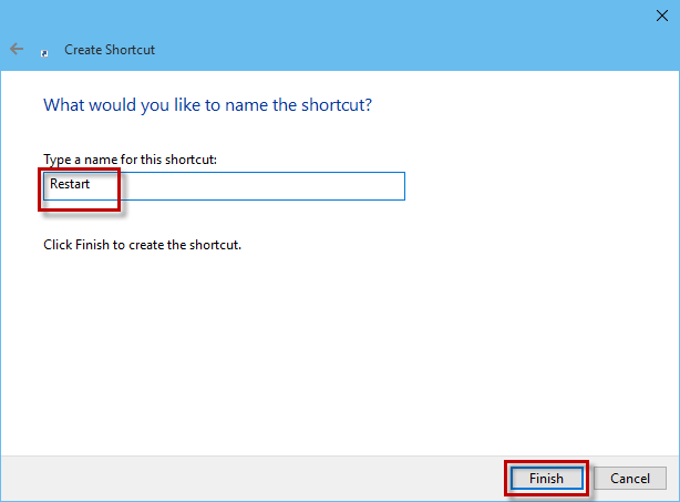Type name for restart shortcut