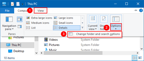 Change folder and search options