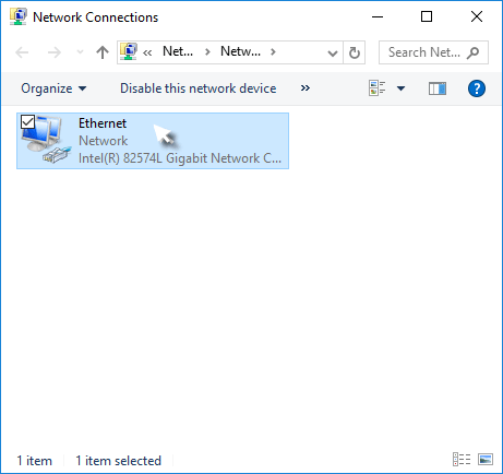 Double-click on current network connection
