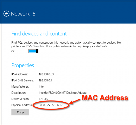 Find MAC address of wifi adapter