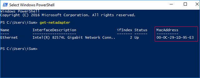 Find MAC address in PowerShell