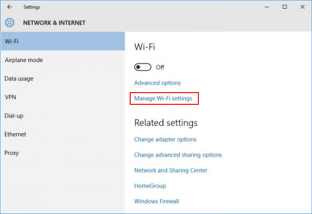 Manage network settings