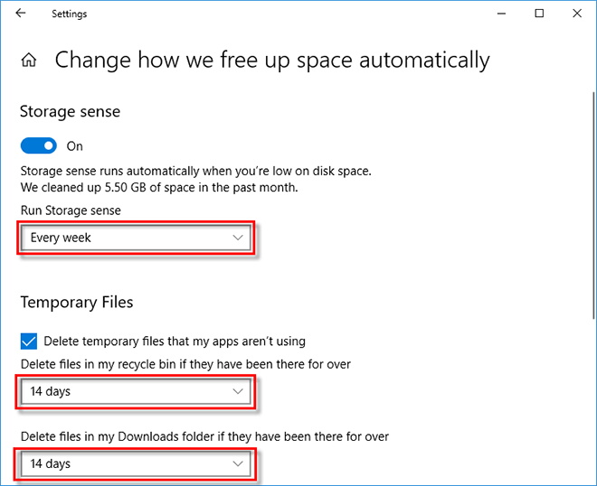 choose when to free up space