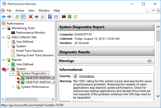 View System Diagnostics Reports