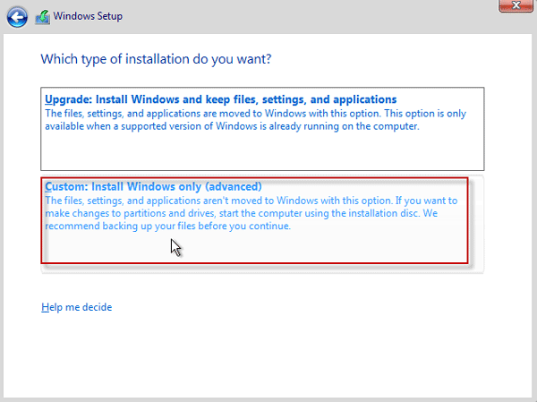 Choose Install Windows only