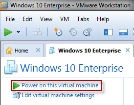 Power on this virtual machine