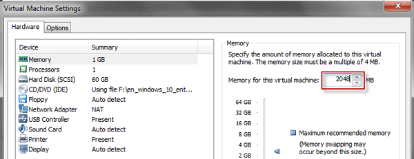 Specify memory for the virtual machine