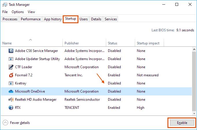 Change Startup Programs in Task Manager