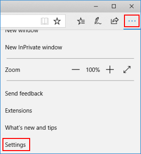 Open Microsoft Edge settings