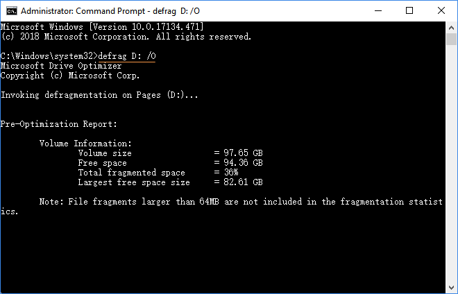 Optimize drive via Command Prompt
