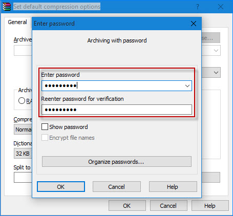 Password protect a zip file in windows 10 with 7 zip winrar for Window zip file
