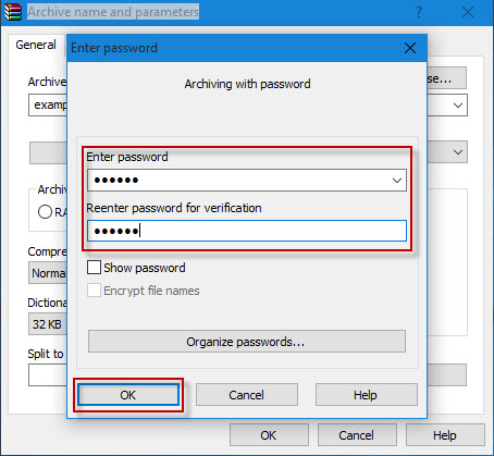 Enter password for zip archive
