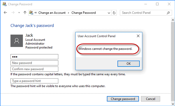 Windows cannot change the password