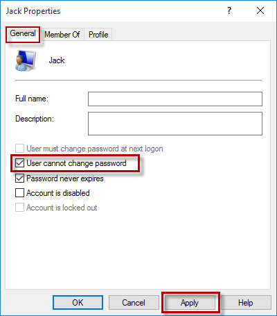 Users cannot change password