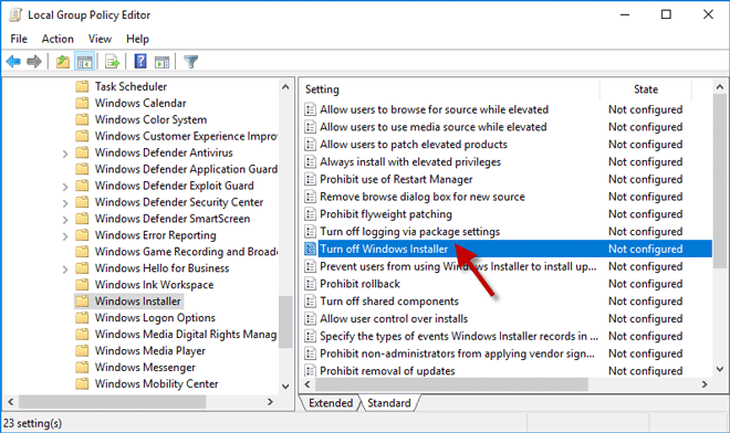 edit turn off Windows installer policy