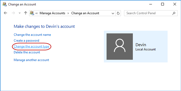 Click on Change the account type