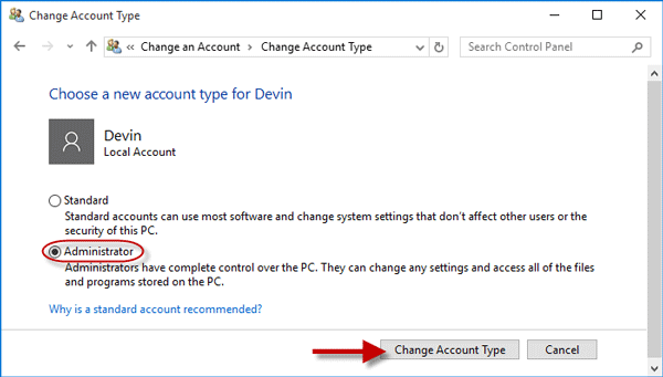 Change from Standard to Administrator