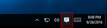 Action Center icon on taskbar