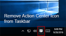 remove action center icon from taskbar