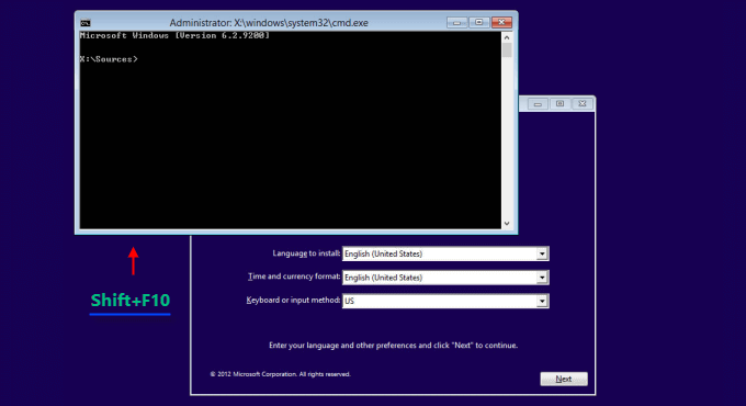 Press Shift + F10 to launch the command prompt